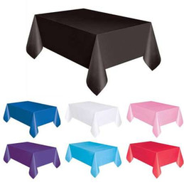 Discount table covers sale - 1PC 137*183cm Plastic Disposable Tablecloth Solid Color Wedding Birthday Party Table Cover Rectangle Desk Cloth Wipe Cov