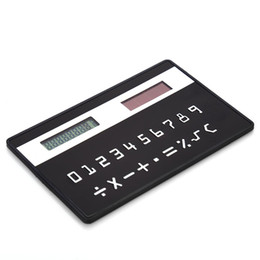 mini slim card calculator solar UK - 10PCS Mini Slim Credit Card Pattern Solar Power Pocket Calculator Silicone Foldable Calculator digit super slim bank card calculator