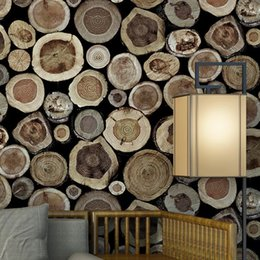 $enCountryForm.capitalKeyWord Australia - 3D Stereo Features Round Wood Stakes Waterproof Wallpapers Restaurant Tea House Essence Background Wooden Wallpapers for Walls
