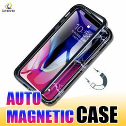 219eb63b3e7 Estuche de parachoques de metal magnético de lujo con tapa transparente  cubierta de teléfono de vidrio templado para iPhone Xs Max Xr X 8 7 Plus  izeso