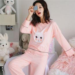 890e840cf2 2018 Autumn Winter 100% Cotton Pajama Sets for Women Long Sleeve Girls  Cartoon Pyjama Pijama Mujer Lounge Homewear Home Clothing