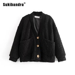 $enCountryForm.capitalKeyWord NZ - Sukibandra Winter 2018 Faux Fur Shaggy Fluffy Furry Women Warm Oversized Jacket Casual V Neck Button Female Black Outwear Coat