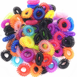 Discount hair spirals bands - 5Pcs SET Elastic Hair Bands Girls Hair Accessories Rubber Band Headwear Rope Spiral Shape Ties Gum Telephone Wire