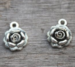 Pewter Pendants online shopping - 15pcs D Silver Rose Charms Flower Charms Tibetan Silver quot Pewter quot Rose Flower Charms Rose Pendants FREE Combined Shipping
