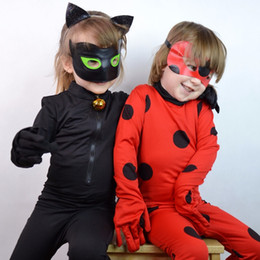 2018 girls lady bug costume miraculous ladybug jumpsuite adrien agreste black cat noir cat suit cosplay kid halloween costumes y1892906