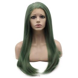 $enCountryForm.capitalKeyWord UK - Long Straight Dark Green Lace Front Wig Natural Heat Resistant Free Part