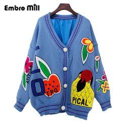 Discount oversized christmas sweaters - Women Cardigans Open Stitch Knit Oversized V-neck christmas Sweater Cardigans Loose blue red tricot Cardigan Jacket Coat