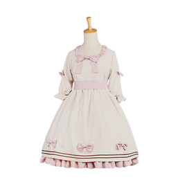 China 2018 Sweet Classical Lolita Dresses Half Puff Sleeves Elegance Lace Bow Princess Dress Cosplay Costumes cheap puff sleeve dress costume suppliers