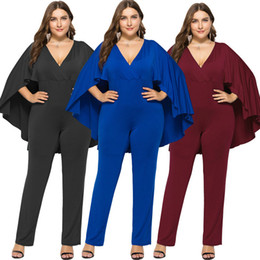 $enCountryForm.capitalKeyWord NZ - L-3XL Plus Size Sexy V-neck Women Jumpsuit Fashion Noble Lady's Rompers Hot New Evening Party Nightclub Jumpsuits