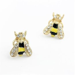 wholesale bee earrings Canada - Earrings for Women Cute Rhinestone Insect Small Bee Crystal Earrings for Women Girls Jewelry Earring T2C194