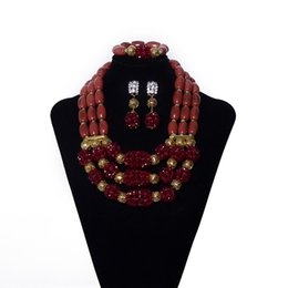 Coral Beads China Australia - 3 Rows Brown Imitation Coral Beads African Jewelry Set Nigerian Bridal Wedding Beads Statement Necklace African Beads Jewelry Set for Women
