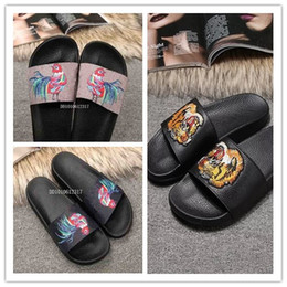1c600f972 Men Women Slide Sandals Designer Shoes Luxury Slide Summer Fashion Wide  Flat Slippery With Cock tiger Sandals Slipper Flip Flops size 36-45
