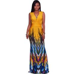 fc23a7c18f70 2018 New Fashion Printing Folding Dresses Summer Sleeveless Sexy Deep  V-neck Fishtail Long Dress Bodycon Fashion Women Clothing Evening Dres
