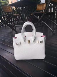 $enCountryForm.capitalKeyWord Canada - 25cm 30cm 35CM Brand Totes White color with Pink lining Genuine leather Shoulder Bags lady Handbag High Quality Free Shipping
