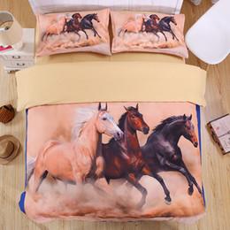 Horse Bedding Sets Queen NZ - horse 3D Bedding Set Print Duvet cover sets Twin queen king Beautiful pattern Real effect lifelike bed sheet linen