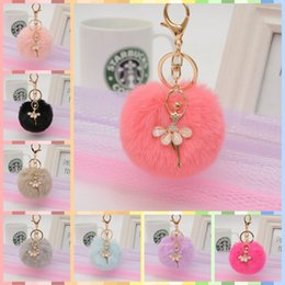 Feather jewelry diy online shopping - 20 Colors Ballet Dancer Pom Pom Artificial Bunny Fur Key Rings Sliver Luxury Keychain for Handbag DIY Jewelry Pendant Gift
