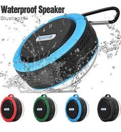 Toptan satış Su geçirmez Bluetooth Hoparlör Duş Hoparlör C6 ile Güçlü Sürücü Uzun Pil Ömrü ve Mic ve Çıkarılabilir Vantuz Perakende Ambalaj