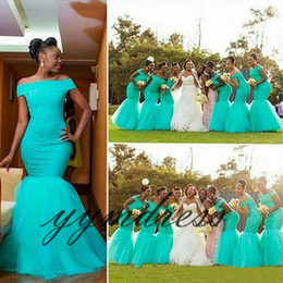 South africa dreSSeS online shopping - Turquoise Bridesmaid Dresses Hot South Africa Style Nigerian Plus Size Mermaid Maid Of Honor Gowns For Wedding Off Shoulder Tulle Dress