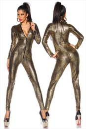 Discount snake woman costume - Sexy Black Wet Look Snake Jumpsuit PVC Latex Catsuit Nightclub DS Costumes Women Bodysuits Fetish Patent Leather Game Un