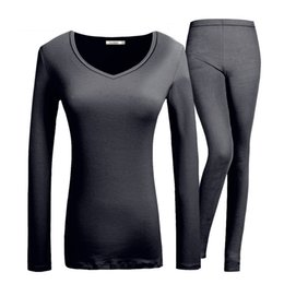 ab4591a39e3e Plus Size Thermals Women Canada - Winter Womens Thermal Underwear Round  Neck Long Johns Modal Women