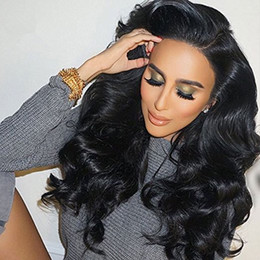 long human hair for 2020 - Brazilian Virgin Hair Full Lace Wigs Body Wave Human Hair Wigs with Baby Hair 150% Density For Black Women Natural Color