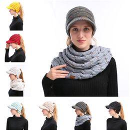 womens yarn knitted cc beanies crochet confetti print hats winter warm cap brim ponytail messy bun solid ribbed beanie headwear adults kid - Funny Christmas Hats Adults