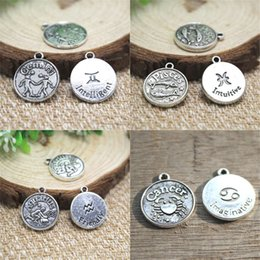 Leo charms online shopping - 15pcs Zodiac charm silver tone charms pendants Gemini Pisces Aquarius Cancer Aries Taurus Virgo Leo Charm about x18mm