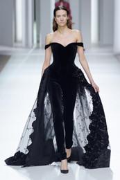 silver sequin jumpsuits 2019 - Hot Sale Jumpsuits Velvet Evening Dresses Off The Shoulder Prom Gowns Sequined Vestidos De Fiesta A Line Appliqued Forma