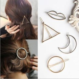 hair modeling 2019 - Europe Exaggerated Triangular Moon Circle Hairpin Geometric Modeling Clip Hair Accessories cheap hair modeling
