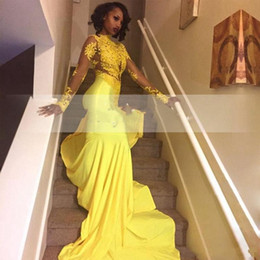 Discount flower girl dresses train embroidery - Black Girls Yellow African Lace Appliqued African Long Prom Dress Mermaid Long Sleeve Evening Party Gown Plus Size vesti