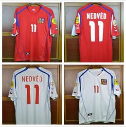 374d41ccf 04 Czech Republic Retro Soccer Jersey Pavel Nedved Champions Mens Football  Shirts 2004 Czech Vintage Classic Uniforms Kit