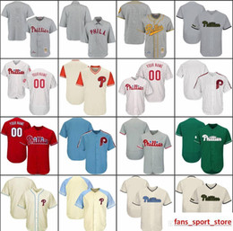 Wholesale cool jersey names online – design 2019 Custom Mens Womens Youth Phillies Baseball Jerseys White Gray Cream Red Green Stitched any Name Any Number Flex Base Cool Base Jersey