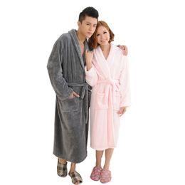 5d3e9eafa7 Flannel Bathrobes Thicken Warm Plush Sleepwear Women Men 2018 Autumn Winter  Solid Couple Bath robe Female Robe Nightgown M-2XL