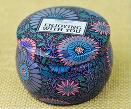 Tea Tins Free Shipping Australia - Multicolor Portable Drum shaped tin boxes flower tea container cans for party gifts package lot wholesale free shipping