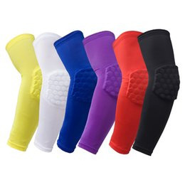 sports basketball knee pads UK - Lycra Honeycomb Elbow Support Breathable Lengthen Elbow Protective Pad Anti-slip Absorb Sweat Solid Sport Basketball Elbow Pad 6 Colors S-XL