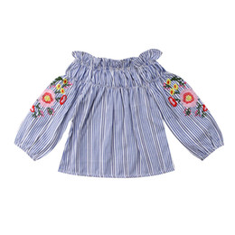 toddler clothing sizes 2018 - Kid Girls T-Shirts Toddler Infant Baby Kids Girl Stripe Embroider Off-Shoulder T-shirt Tops Clothes Size 2-7T discount t