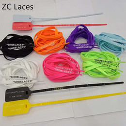 Silicone ShoeS online shopping - SHOELACES Flat Laces With Zip Tie Red Strap Colorful Tag Plastic Off Shoes Silicone Printing Shoelaces Cheap Custom Color in quot cm