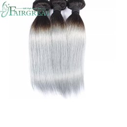 Gray weaves online shopping - Fairgreat Peruvian Virgin Straight Ombre Hair Extensions Grey Two Tone b Silver Gray human Hair Ombre Peruvian Hair Weave Bundles