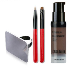 China Color Salon Waterproof Eyebrow Henna Makeup Enhancer Tint Brush Kit Eye Brow Gel Cream Make Up Stamp Set Paint Tool Wax Cosmetic cheap painting brush sizes suppliers