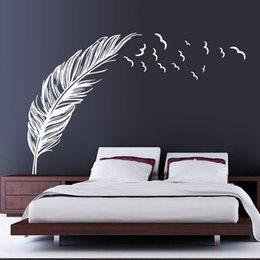 green room decor 2019 - 3 Colors Feather Wall Stickers Wallpaper Wall Picture Art Room Home Decor Kitchen Accessories Household Crafts Suppllies