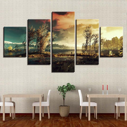 Panels Scenery Canvas Art Prints Australia - Wall Art Pictures Modular Canvas Home Decor 5 Pieces Forest Tree Lake Scenery Paintings Living Room HD Prints Posters Framework