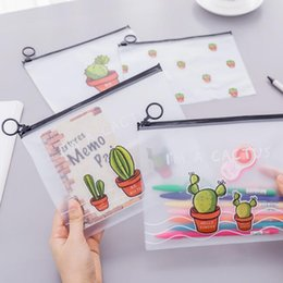 plastic cactus Canada - pencil bags korean stationery cute transparent waterproof plastic cactus pencil cases storage organizer pen bags pouch school office supply