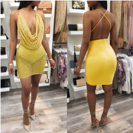 $enCountryForm.capitalKeyWord Canada - Free shipping Cowl Neck Dress Sexy Transparent Pics Shinning Club Wear Rhinestone backless Bodycon Dress Festival Dress free shipping