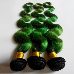 Ombre human hair weave green online shopping - Tone Ombre Weaves Brazilian Body Wave Human Hair Weft inch New Star European Indian Hair Extensions B green No Shedding No Tangle