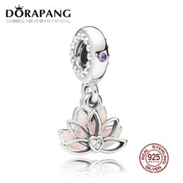 e12017f5f DORAPANG 100% 925 Sterling Silver Serene Lotus Flower Hanging Charm Pendant  Bead For Mother Gift Fit Bracelet DIY Necklace