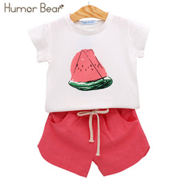 Baby Winter Bear Suits NZ - Humor Bear Summer Baby Girls Clothes Set Children'S Clothing Fruit T-Shirt + Shorts Suit Clothing Set Girls Suits