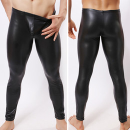 mens tight leather trousers 2019 - mens long pants tight fashion hot black human made leather sexy boxer Full Length panties trousers Brand Straight cheap