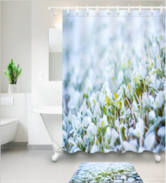 Modern Fabric For Curtains Australia - 3D Polyester Fabric landscape print Shower Curtains with 12 Hooks For Bathroom Decor Modern Bath Waterproof Curtain floor mats sets