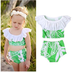 Chinese  Girl Leaves Print Swimsuit Baby Lotus Neck Swimwear Two Pieces Kids Summer Bikini Sets Baby Clothes CN G023 manufacturers
