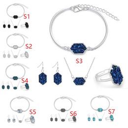 14 estilos Druzy Drusy Colar Brincos Pulseira Anéis Set Jóias Hexagon Pingente de Colar Encantos Dangle Orelha Kendra Scott Casamento Mulheres